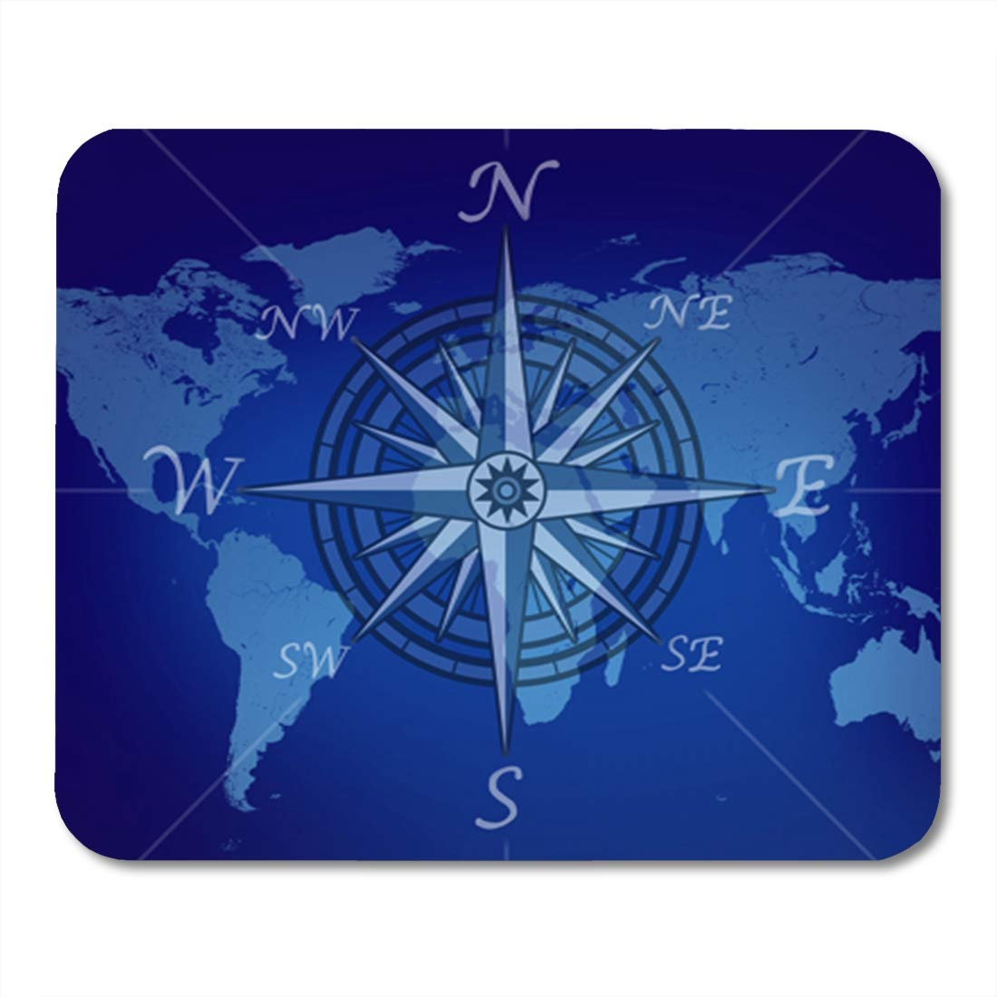 Map Of The World With Compass.Amazon Com Semtomn Gaming Mouse Pad Map Of The World With Compass