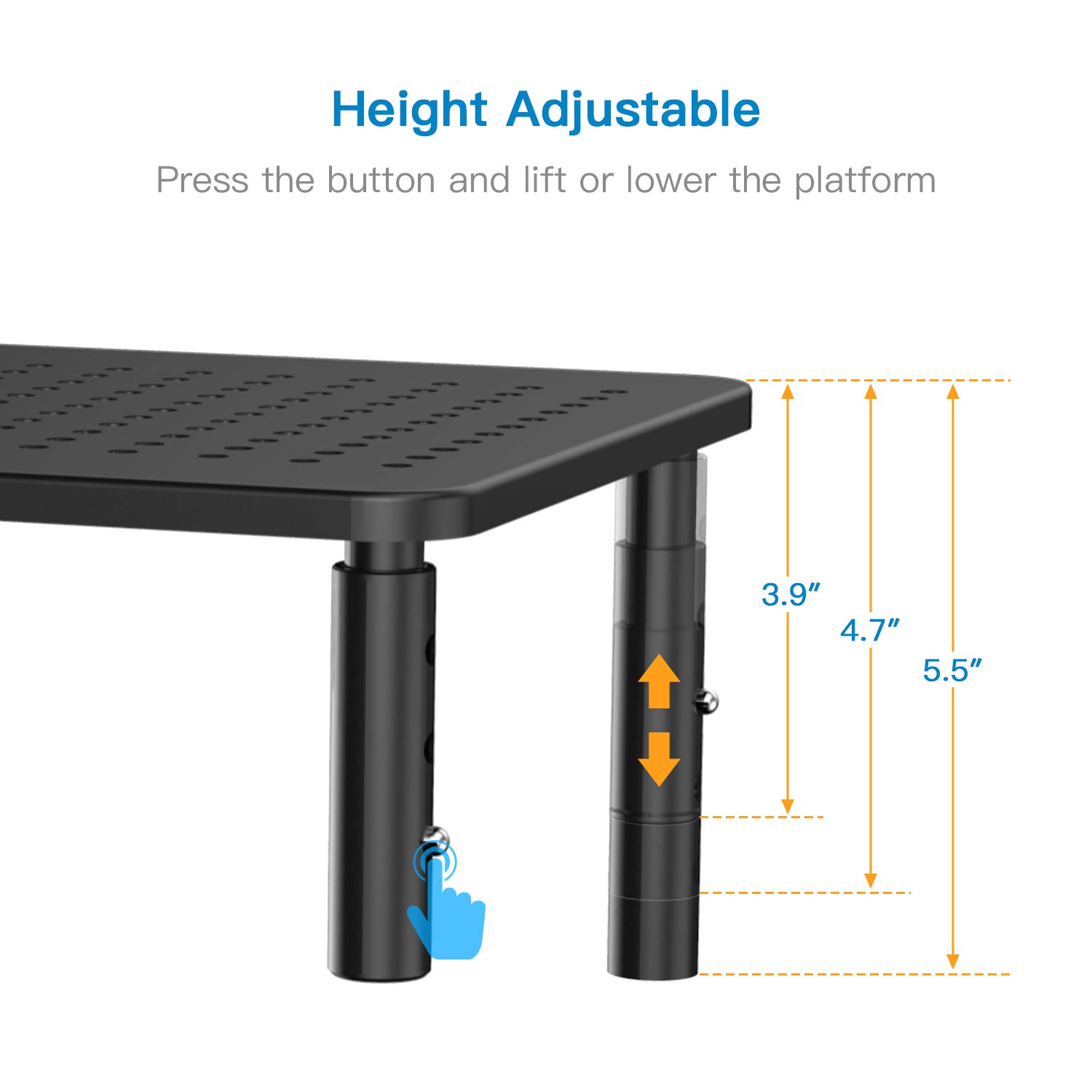 Monitor Stand Riser - 3 Height Adjustable Monitor Stand for Laptop, Computer, iMac, PC, Printer, Desktop Ergonomic Metal Monitor Riser Stand with Mesh Platform for Airflow by HUANUO (2 Pack) by HUANUO (Image #2)