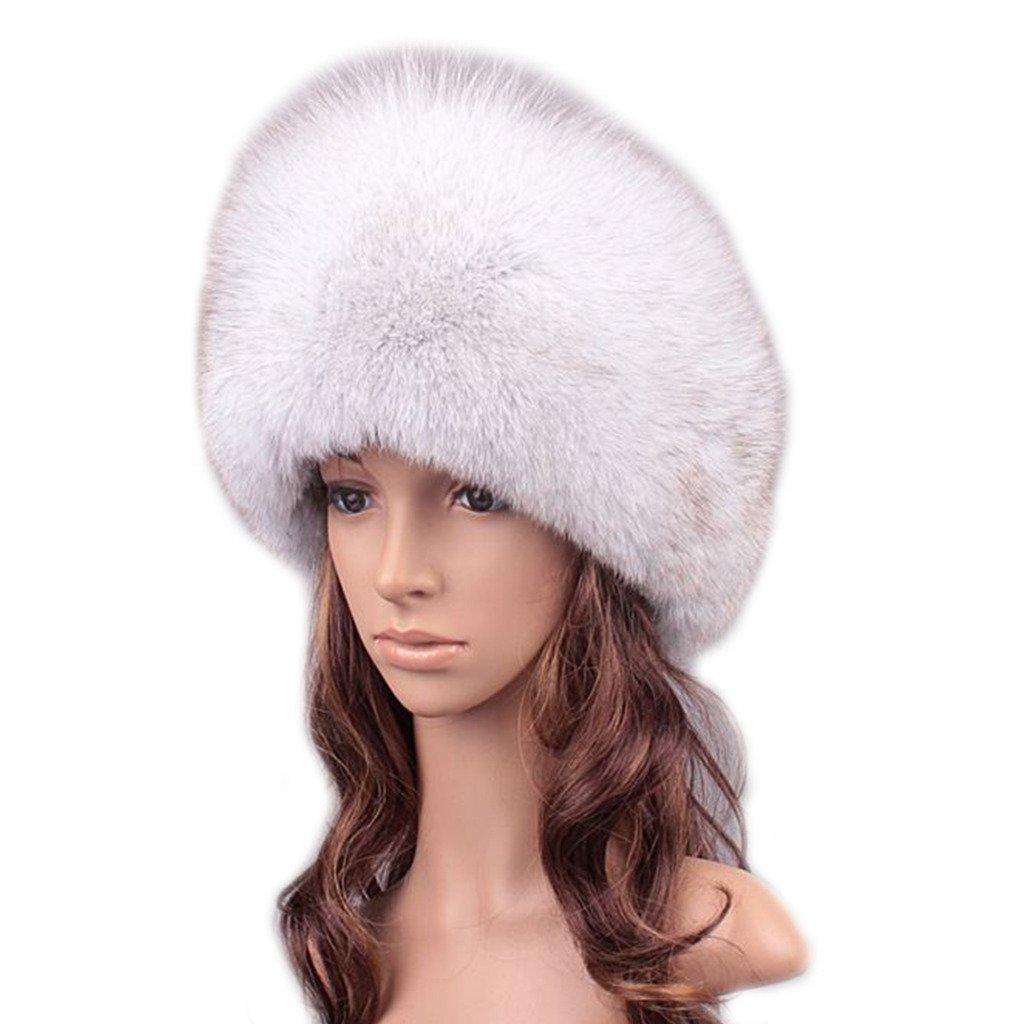 UK.GREIFF Women's Fashion Fox Fur Adjustable Hat Winter Cap Blue