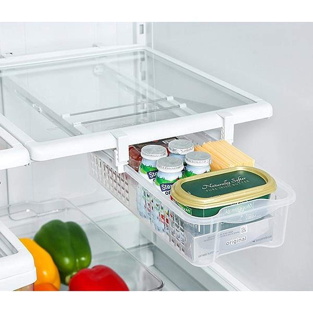 Refrigerator Pull Out Bins & Home Organizer Extendable Rails & Handle - Medium - Holds 15 lbs. - BPA Free - for Fridges & Freezers Food Storage - Kitchen [White]