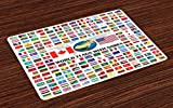 Ambesonne Flags Place Mats Set of 4, Big Collection of World Flags with Names Different Countries Nationalities Patriotic, Washable Fabric Placemats for Dining Room Kitchen Table Decor, Multicolor