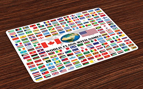 Ambesonne Flags Place Mats Set of 4, Big Collection of World Flags with Names Different Countries Nationalities Patriotic, Washable Fabric Placemats for Dining Room Kitchen Table Decor, Multicolor by Ambesonne (Image #4)