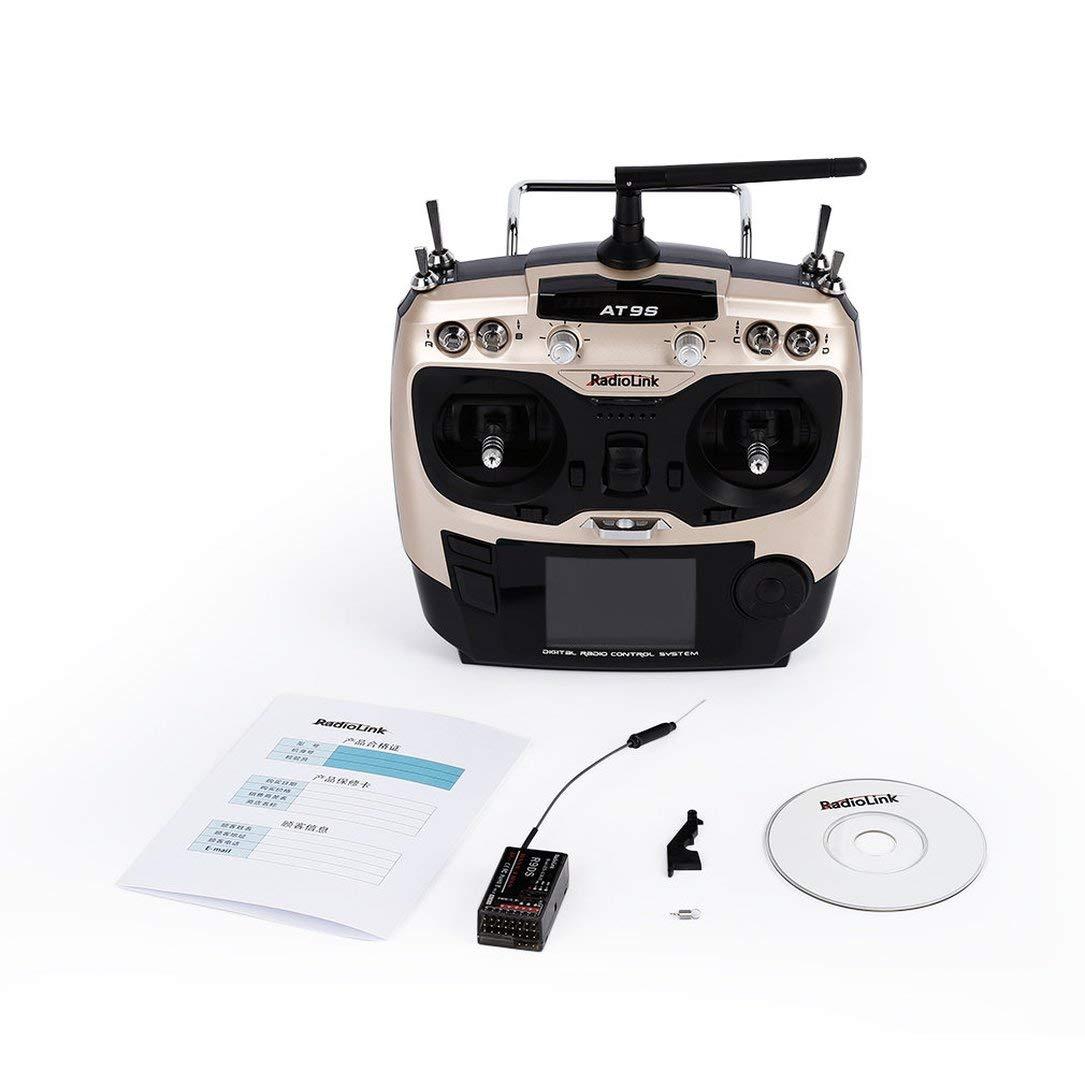 Transmisor de Control de radioenlace AT9S 2,4 GHz con Receptor de Radio 9Ch RC R9DS