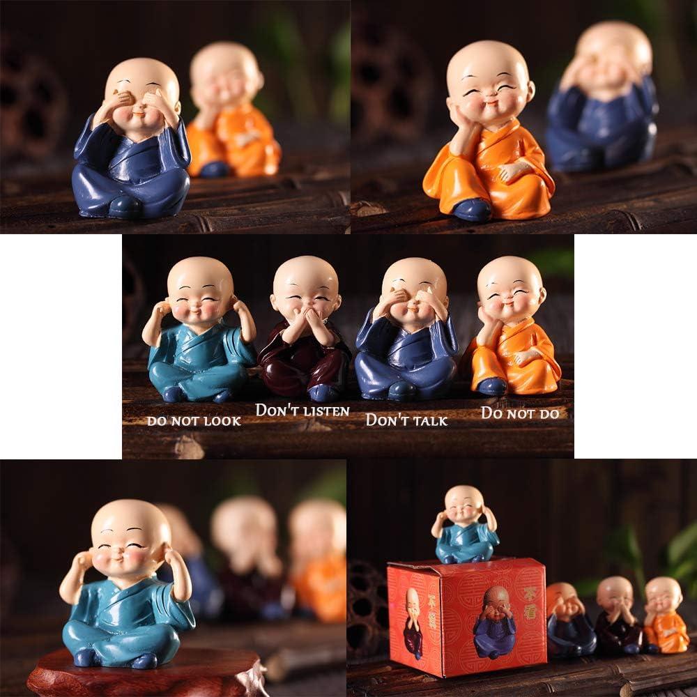 Adornos Decorativos de Resina del Monje Otros Regalos y Decoraciones en el Estante del Escritorio Principal del autom/óvil. yu Un Conjunto de 4 estatuas de monjes Decoraciones Individuales
