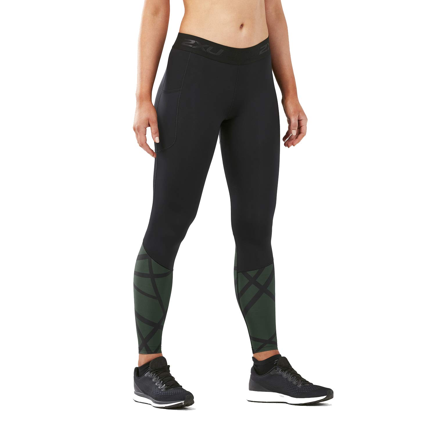 2XU Women's Accelerate Compression Tight Storage (X-Large, Black/PaintStrokes MntainView)