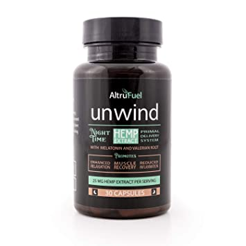 AltruFuel Unwind - Natural Hemp Extract with Melatonin and Valerian Root [Promotes Sleep, Muscle