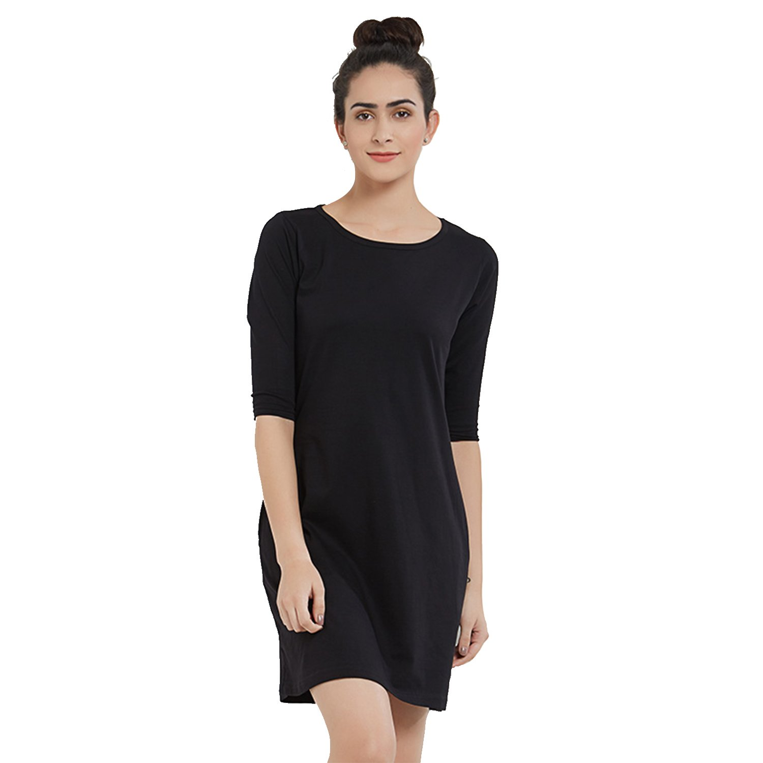 5a0039a3a848 The Souled Store Solids  Black T-Shirt Dress Plain Black Cotton Dress for  Women and Girls  Amazon.in  Clothing   Accessories