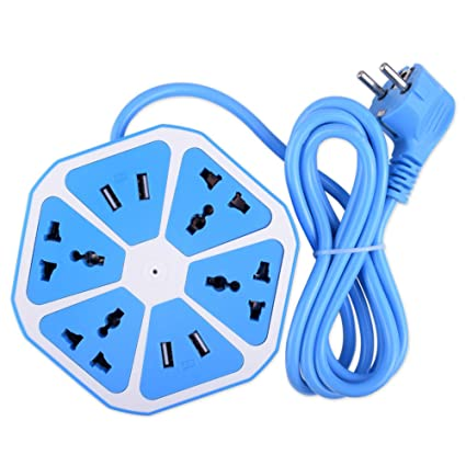Inventia Hexagon Shape Sky Blue Color Socket Extension Board with 4 USB 2.0Amp Charging Points