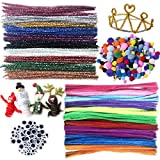 Chenille Stem Set / 200 PCS Pipe Cleaners Set Assorted Colors Cleaners / 250 PCS Pom Poms / 150 PCS Wiggle Googly Eyes for Crafts and Art Children's Bendable Sculpting Sticks for Crafts and Arts (Pipe Cleaner Set)