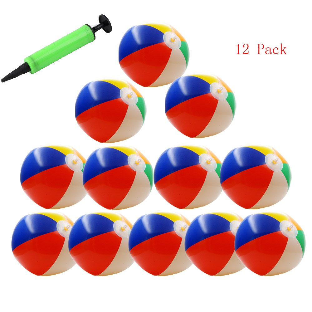 BeTwo 12 Pack Inflatable Beach Balls 10'' 6-Panel Colorful Beach Water Party Toys with 1 Free Hand Air Pump(Color May Vary)