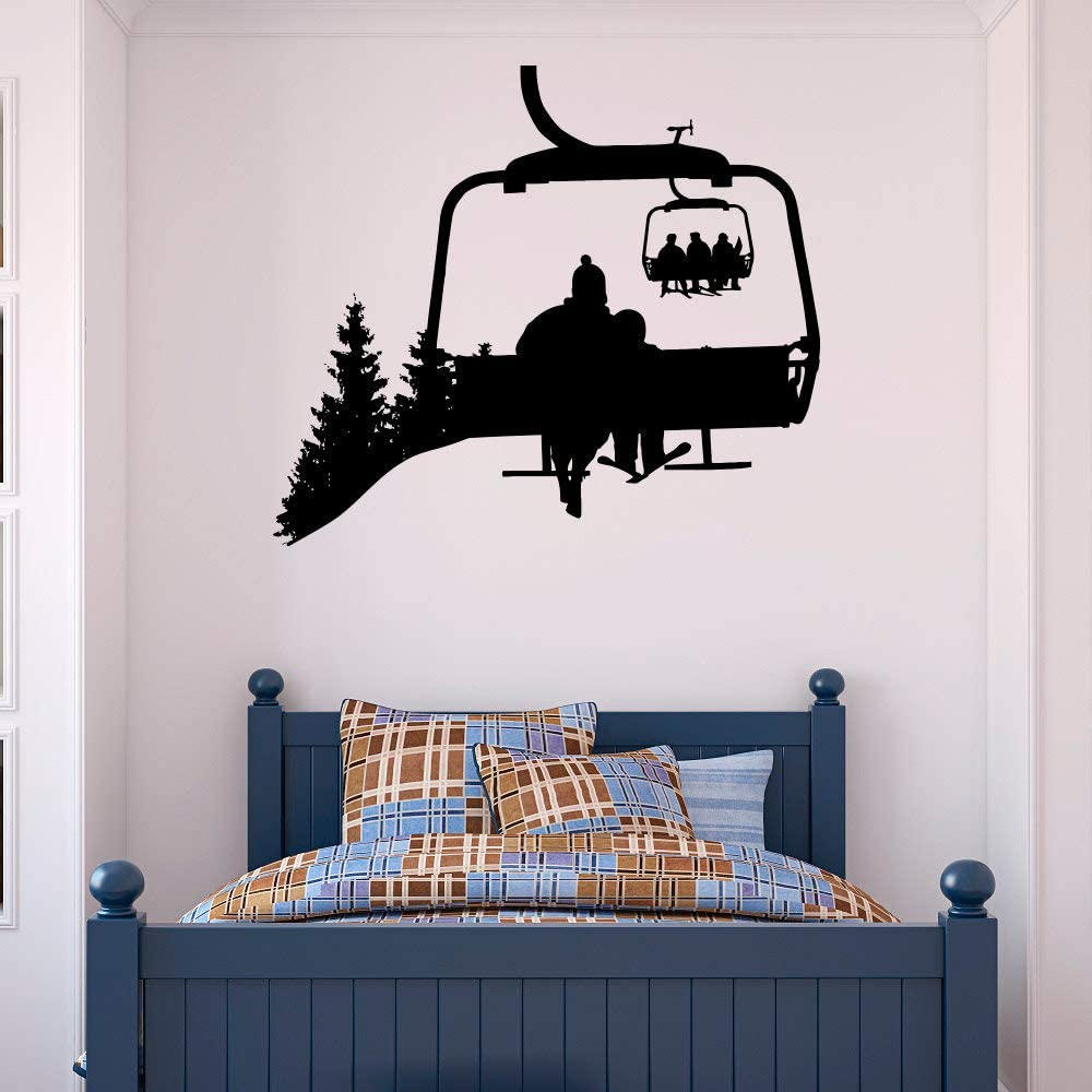 Ski Lift Vinyl Wall Decal Decor Skiers Decals Snowboard Winter Sport- Ski Lift Chair Vinyl Wall Decal- Skiing Sports Decal Decor Bedroom Kids Mountain Decor Made in USA