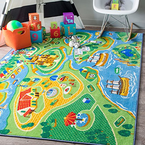 Price comparison product image Playtime Fantasy Kids Castle Harbor Green Rug (5' x 7'5)