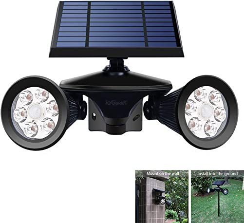 ieGeek Solar Powered Lights Outdoor, Solar Spotlights Motion Sensor Yard Light Wall Lamp Waterproof Garden Landscape Lighting PIR Detecting Wall Lamp Auto On Off for Yard Driveway Porch Walkway