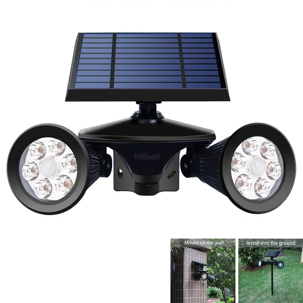 ieGeek Solar Spotlights Outdoor, Solar Motion Sensor Light, Yard Light Waterproof Garden Landscape Lighting PIR Detecting Wall Lamp Auto On Off for Yard Driveway Porch Walkway