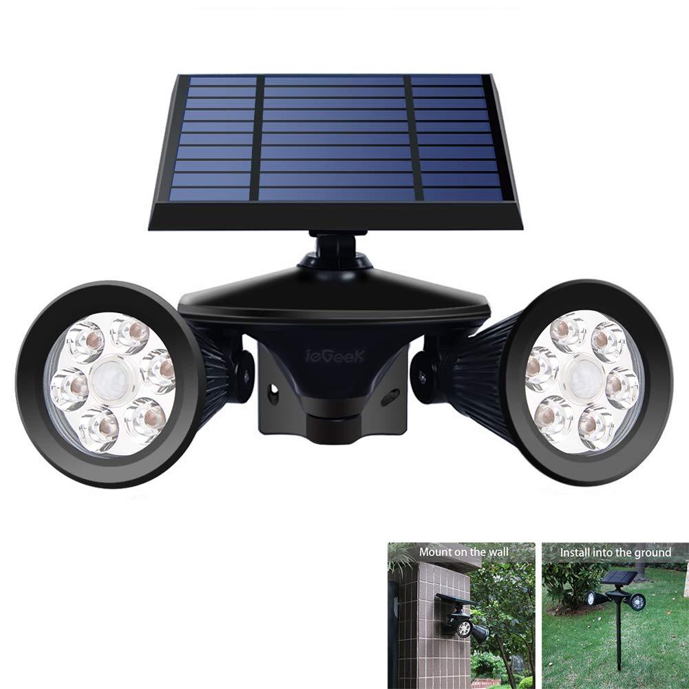 ieGeek Solar Motion Sensor Spot Light Outdoor 12 LEDs Solar Powered Outside Spotlights Adjustable Double Head for Outdoor Wall Yard Garden Garage Driveway