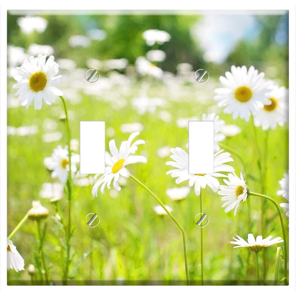 Fib About Daisies >> Switch Plate Double Rocker Gfci Daisies Field Nature Summer