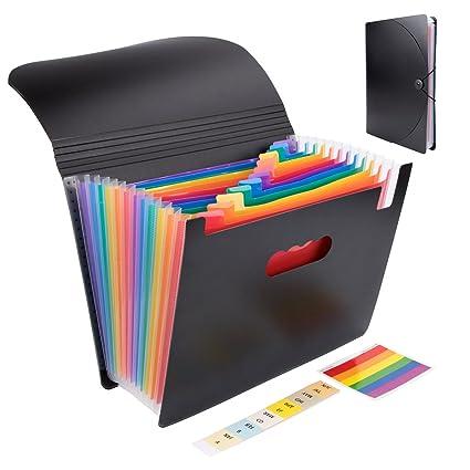 Carpeta de archivadores A4 con 2 Pcs etiquetas, 12 bolsillos, gran capacidad, y tapa, portátil plástico organizador de documentos arcoíris, clasificadores y ...