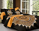 SheetKart Traditional Mandala 144 TC Cotton Double Bedsheet with 2 Pillow Covers - Floral, Superior Black Tie Dye