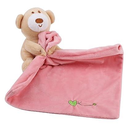 Manta para bebé, diseño de oso natural y toalla (rosa/blanco),