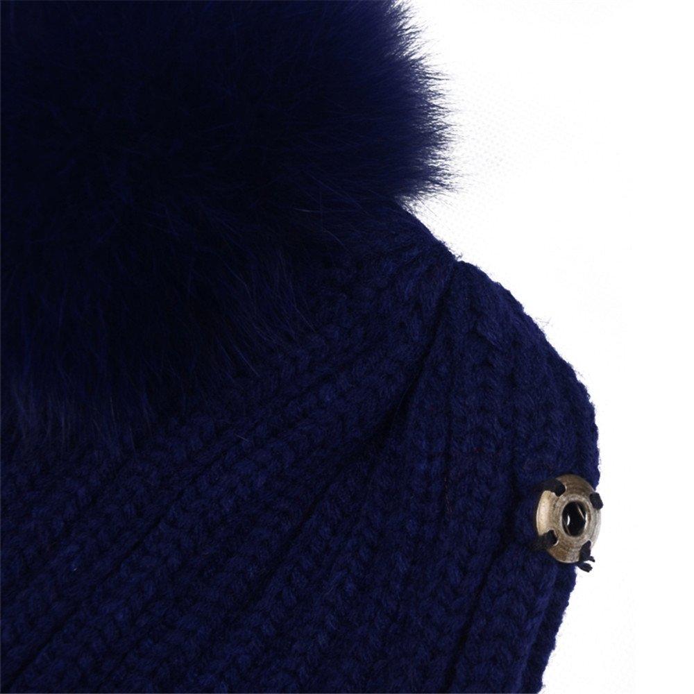 38ddf3b5b59 Women s Knitted Double Real Fox Fur Pom Pom Hats Beanie Warm Winter Knit Ski  Snowboard Cap (Navy Blue) at Amazon Women s Clothing store
