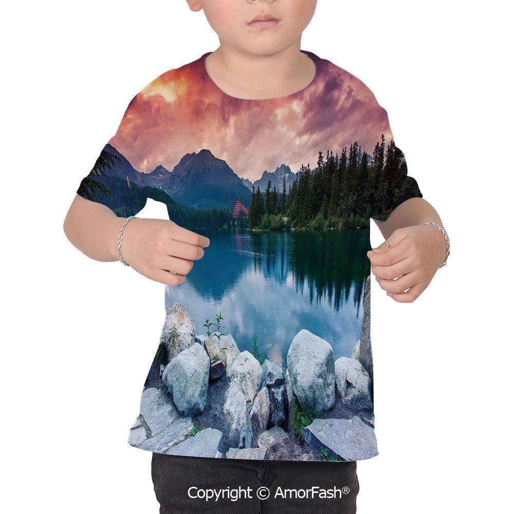 Outdoor Original Printed Short Sleeve Shirt Size XS-2XL Big,Lake Forest Mountain