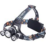 GHB Lampe Frontale LED Puissante Rechargeable Luminaire 6000 Lumens 3T6 LED pour VTT Cycliste,Randonnée
