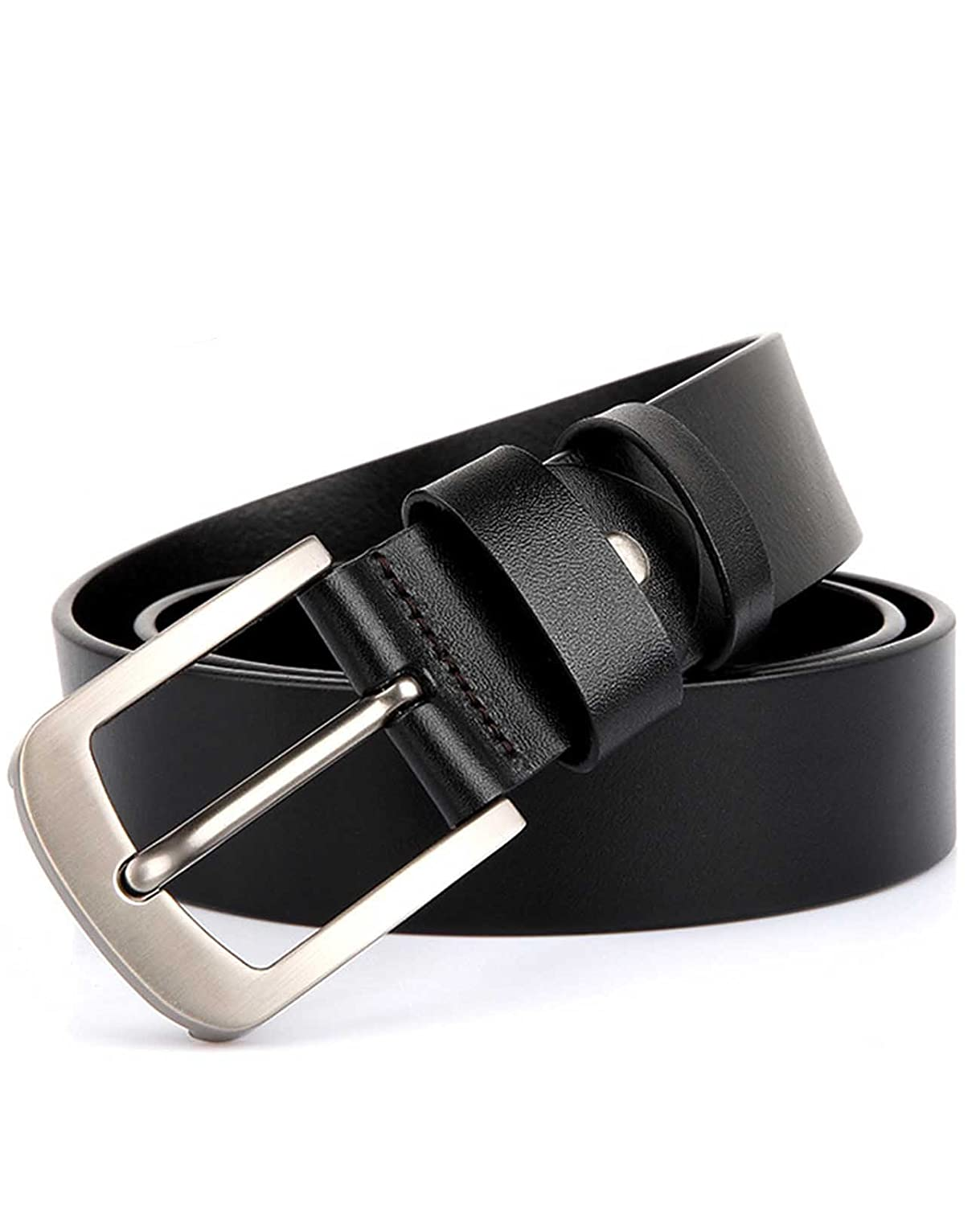 Nidicus Mens 38mm Wide Casual Leather Bridle Genuine Leather Dress Belt