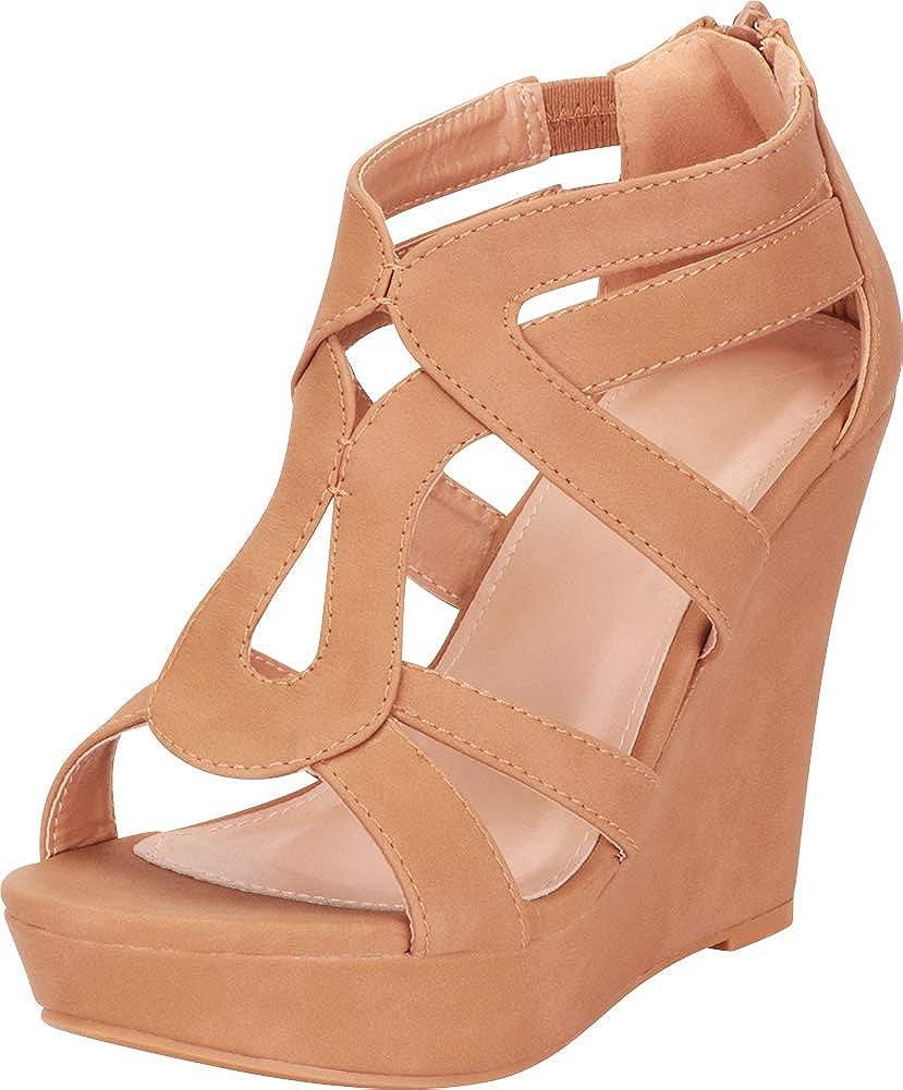 Tan Pu Cambridge Select Women's Open Toe Cutout Caged Chunky Platform Wedge Sandal