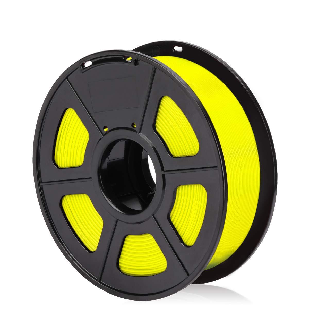 Filamento 3D de carrete para plumas 3D e impresoras 3D 2.2 LBS 1.75 mm 1 KG ACENIX/® Filamento 3D Fluorescente amarillo PLA para impresora 3D