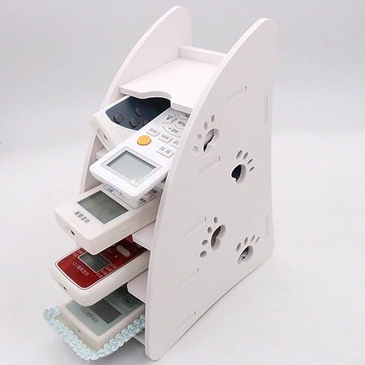 Wei/ße Fernbedienung Halter Caddy Coideal 4 F/ächer Carving abnehmbare Desktop Organizer Kunststoff Holz Stift Bleistift Halter Container f/ür B/üro Schreibtisch K/üche Make-up Telefone klein