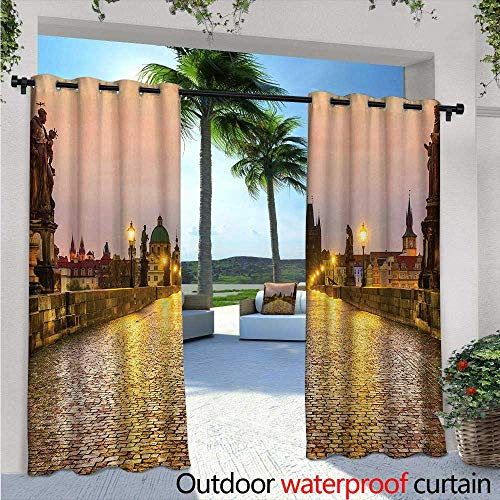 (Landscape Exterior/Outside Curtains W72 x L96 Charles Bridge Old Town Prague Czech Republic with Classic Medieval Buildings for Patio Light Block Heat Out Water Proof Drape Yellow Brown)