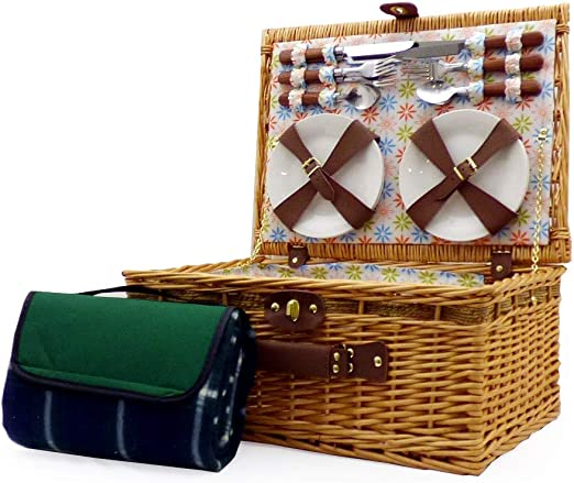 Gift Ideas for Valentines Business and Corporate Wedding Birthday Christmas Mothers Day Anniversary 4 Person Henley Style Picnic Hamper Basket with Accessories and Green Traditional Waterproof Fleece Picnic Blanket