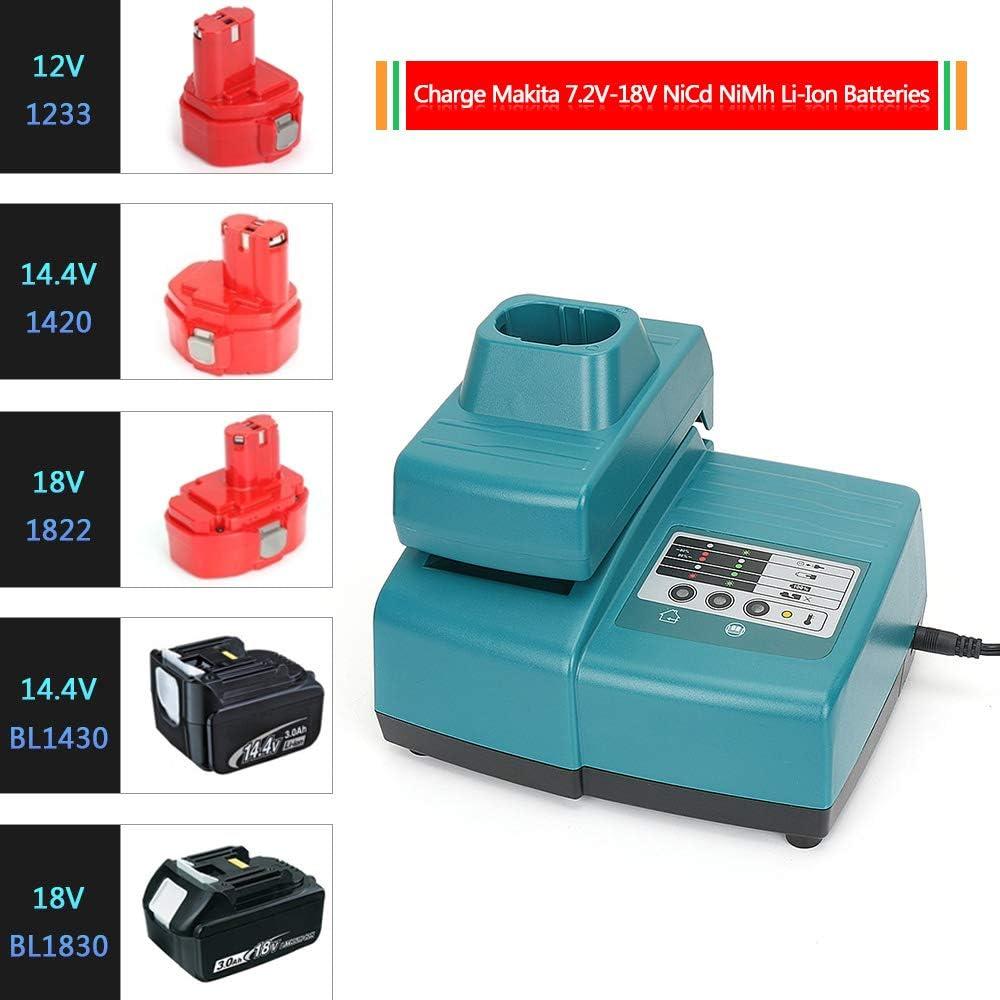 REEXBON 7.2V-18V Cargador de Repuesto de Ni-MH//Ni-CD//Li-ion para Makita Bater/ía BL1840 BL1835 BL1830 BL1830 BL1440 194204-5 194205-3 194309-1 7000 9000 1233