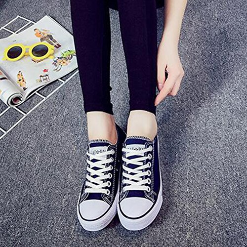 Summerwhisper Mujeres Classic Low Skateboard Sneakers Lace-up Flats Plimsoll Canvas Zapatos Azul Marino