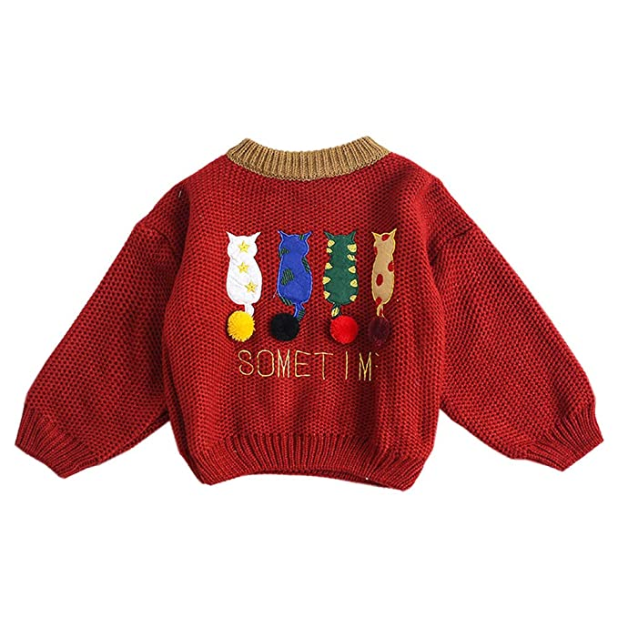 7f3683f90 Amazon.com  Moyikiss Studio Little Girls Ugly Cartoon Cats Christmas  Pullover Sweater Flared Long Sleeve Knit Jumper 2-6 Years  Clothing