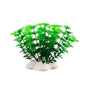 Vacally 6Pcs Fish Tank Plastic Decoration Aquarium Green Plants Water Grass Fish Tank Artificial Plants 4.33
