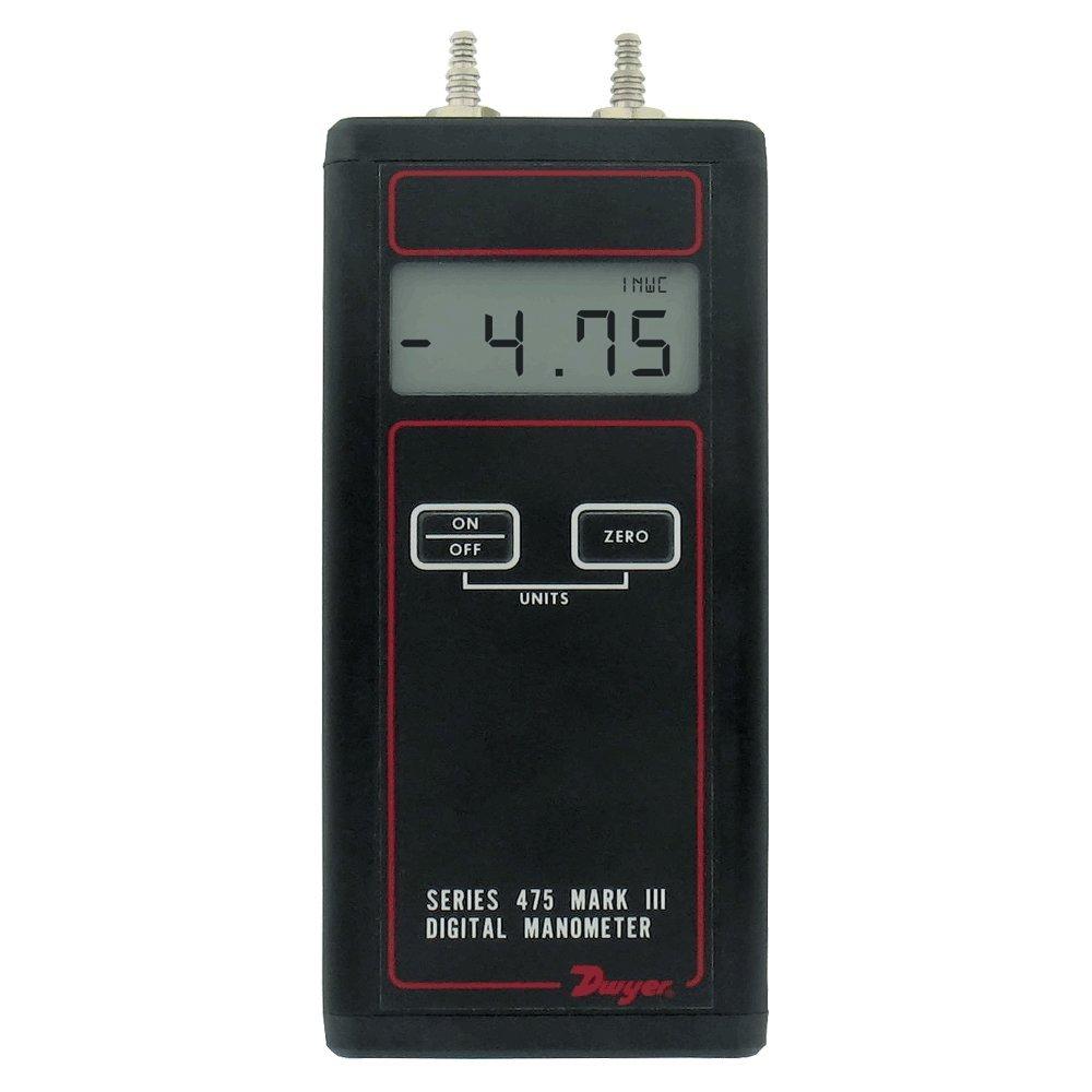Dwyer Differential Pressure Digital Manometer Handheld, 475-00-FM, FM Approved, 0-4.0' w.c. 0-4.0 w.c. Cole-Parmer