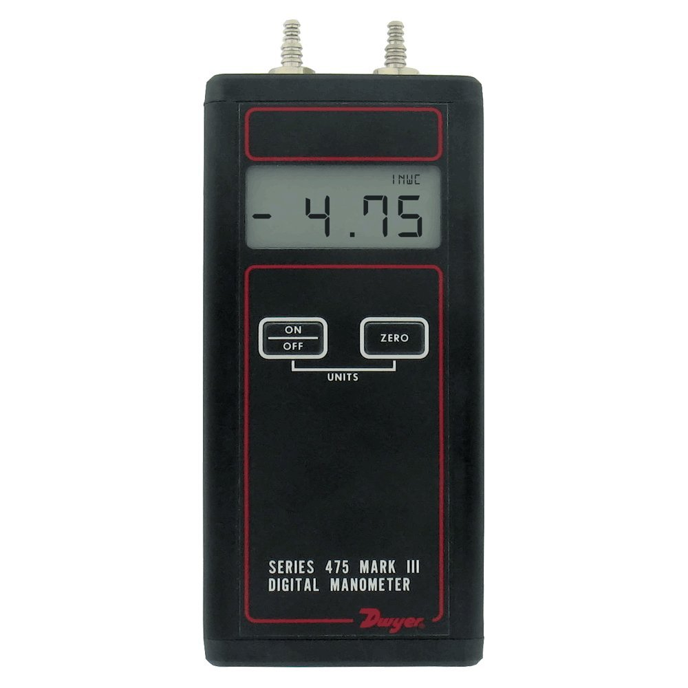 Dwyer® Differential Pressure Digital Manometer Handheld, 475-000-FM, FM Approved, 0-1.0'' w.c.
