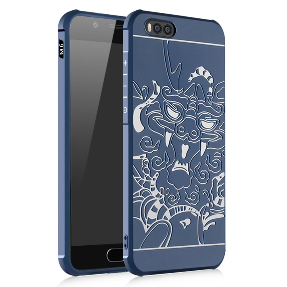 Xiaomi Mi 6 SMTR Cover - Slim Armor TPU 3D Soft Case for Xiaomi Mi 6 Smartphone (Slim Fit Series - Blue Dragon)