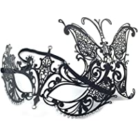 WJood Metal Masquerade Mask for Women Shiny Rhinestone Venetian Party Prom Ball Women Sexy Eye Mask for Halloween CarnivalParty Costume Ball,Half Face