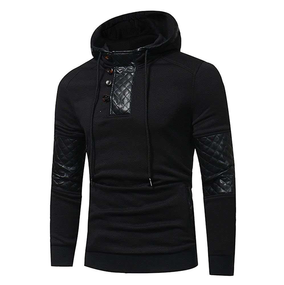 Mens Slim Fit Hoodie Pullover, BSGSH Mens Patchwork Solid Color Chic Hooded Sweatshirt at Amazon Mens Clothing store: