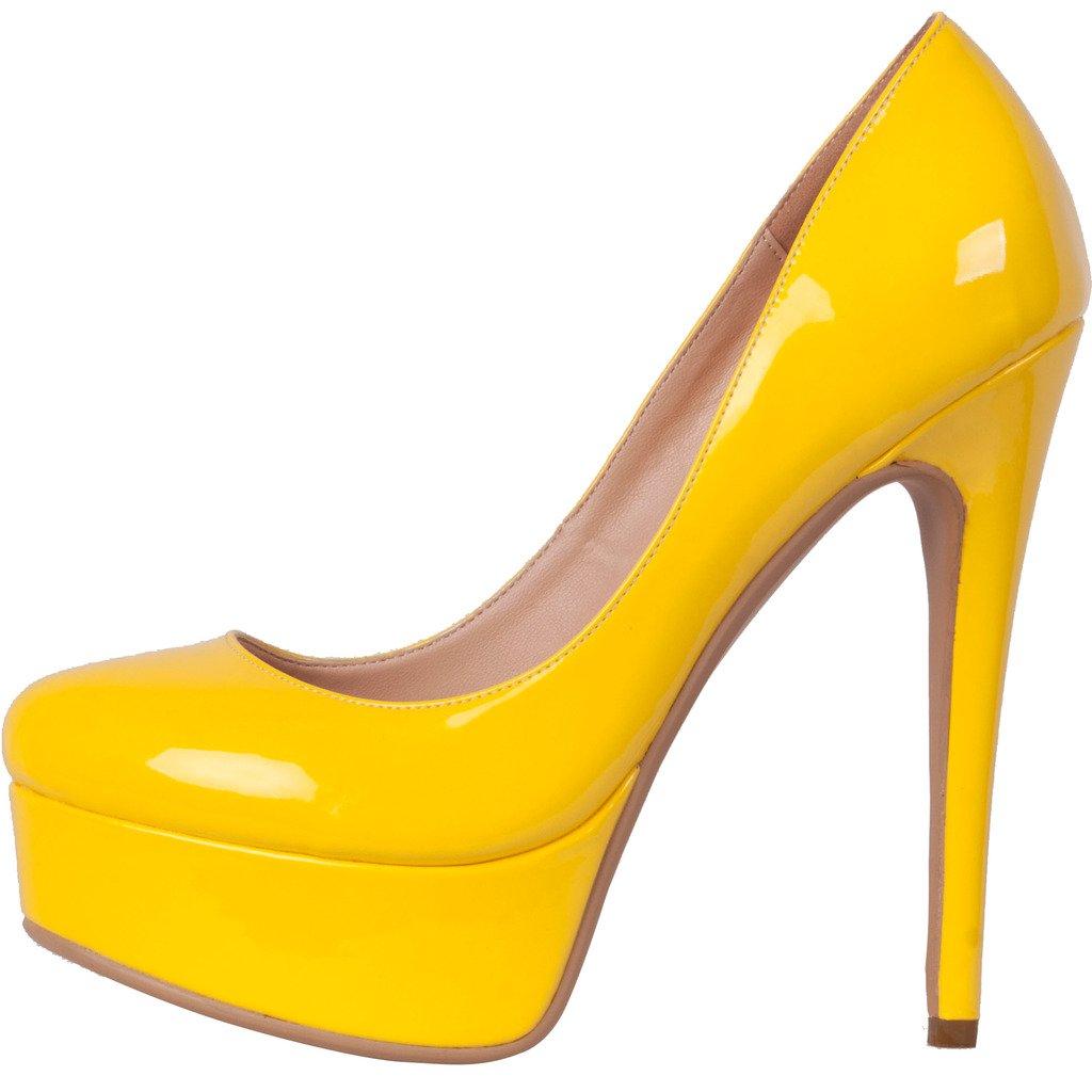 Calaier Damen Cadress Stiletto High High Stiletto Heels Komfort Casual Bunte Fashion Lady Schuhe 15CM Stiletto Schlüpfen Pumps Gelb 19524a