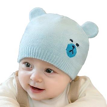 Bonnet Bébé - Enfant Crochet Casquettes Chaud avec Ours Oreilles - hibote 9a7898b8ead