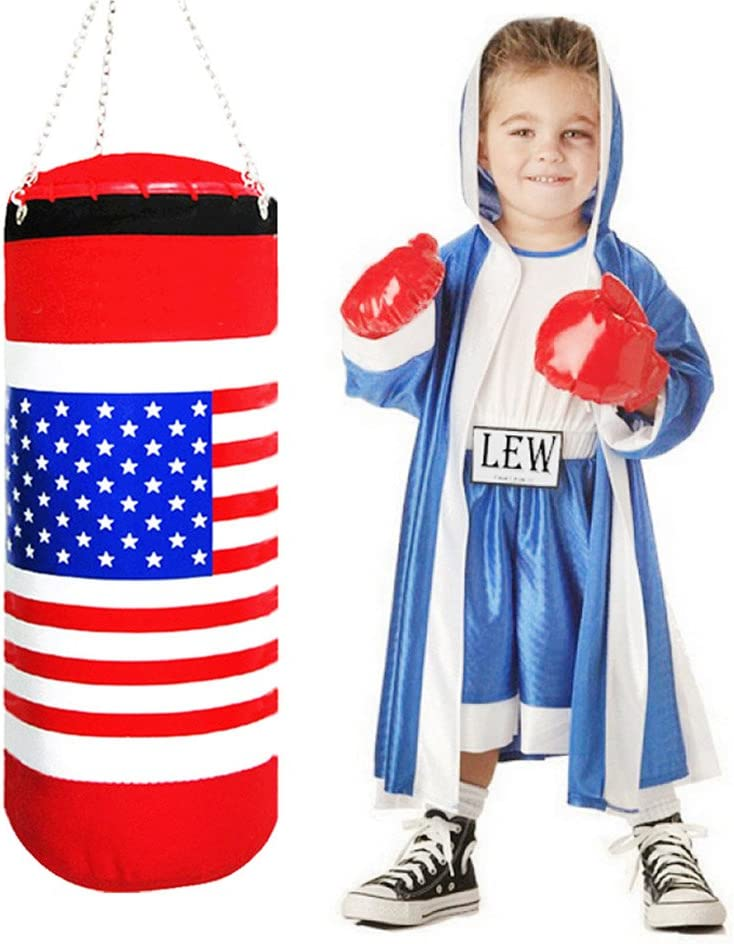 eforoutdoor Punching Bag withボクシンググローブUAフラグスポーツ物理トレーニングゲームExtra Large 19インチTall 6.7インチハンギングチェーンanti-stress Fitness for Kids and大人