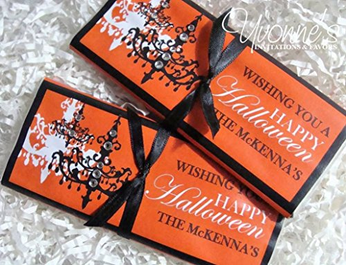 Halloween Candy Bar Wrapper - Chandelier / Vintage Gothic - Chocolate Bar Favor - for Halloween Party / Gothic Wedding (SET OF 12) **Chocolate not (Halloween Bar Themes)