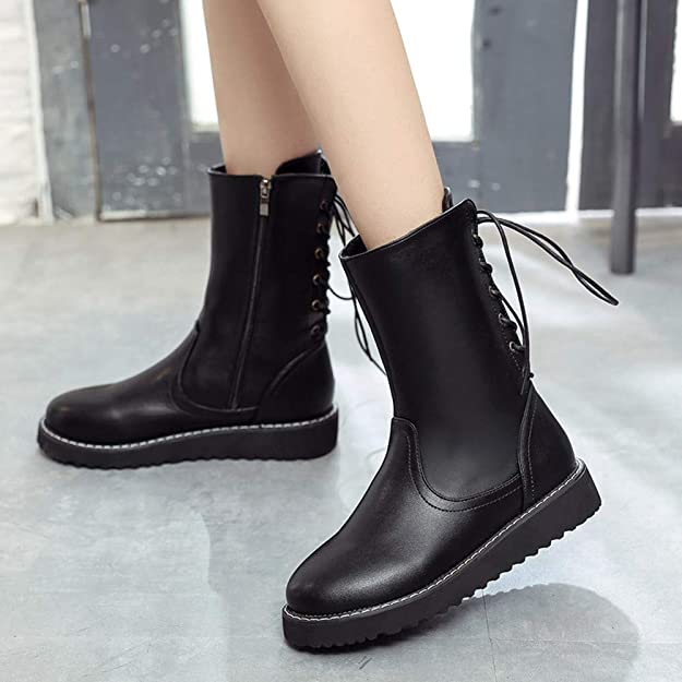 Amazon.com | Offers, ZLolia Womens Round Toe Zipper Leather Middle Boots Flat Shoes Stylish | Shoes