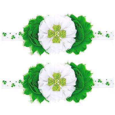 Tinksky 2pcs St. Patrick's Day Shamrock bébé bandeau bébé couvre-chefs accessoires