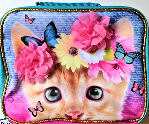 Accessory Innovations Kitten with Butterflies and 3D Flower Lunch Bag