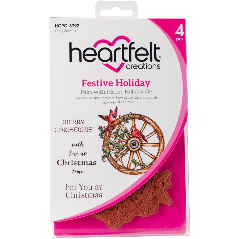 Heartfelt Creations Festive Holiday Cling Rubber Stamp Set - HCPC-3792   B074TT355H