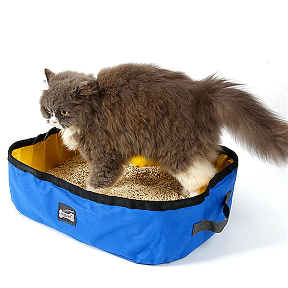 Kbsin212 Extérieur bac à litière pour chat carré couvert Chaton Litière pour chat Bac à Litière pour Chat Portable Pliable piscine de toilette pour chat ou chien en camping ou de voyage exécution imp